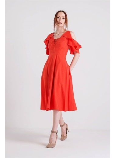 Rue Volanlı Midi Elbise Oranj